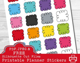 Rainbow Doodle Clouds - Happy Planner - Erin Condren - Printable Planner Stickers - Full Box Stickers - Functional Planner Stickers