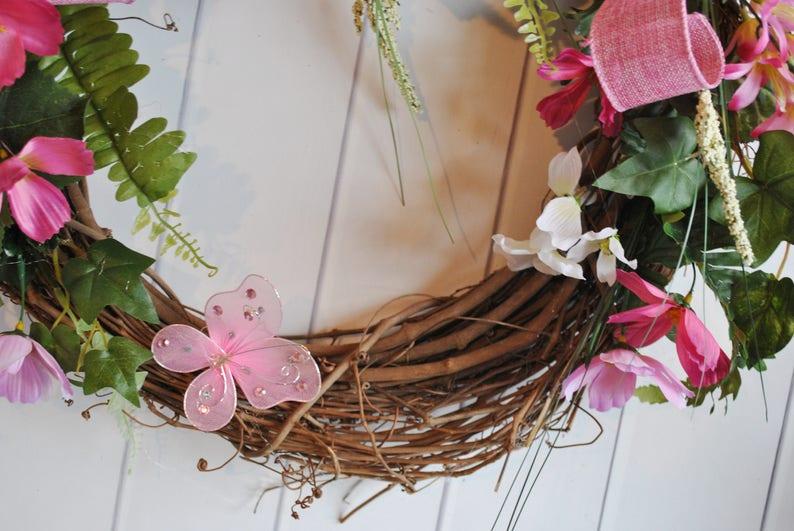 Door Wreath Everyday Wreath Pink Foral Wreath Burlap Wreath Spring Wreath Door Wreath Wedding Wreath Cottage Wreath Summer Wreath