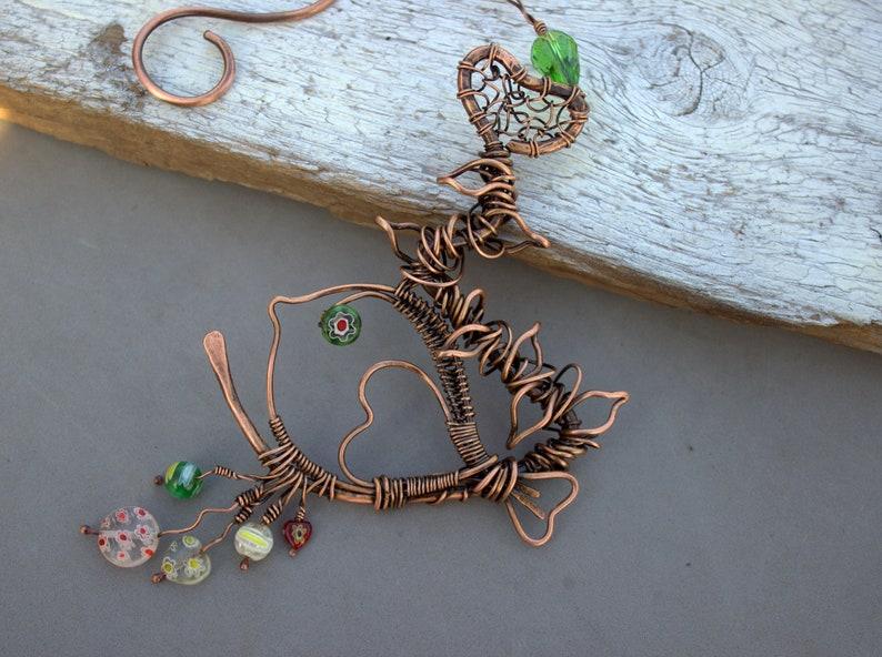 Dream Catcher Bohemian Decor Bird Dreamcatcher Bird Suncatcher Metal Bird Art Copper Sun catcher Gift for Gardeners Bird Decoration