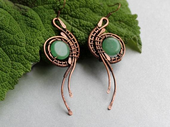 Immune Boosting Copper Earrings Boho Upcycled Healing Wire Weave Aventurine