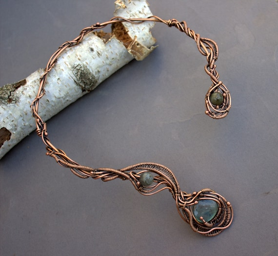 Wire wrapped jewelry Open choker necklace Copper Necklace Collar Necklace Statement Necklace Unique Necklace Open necklace