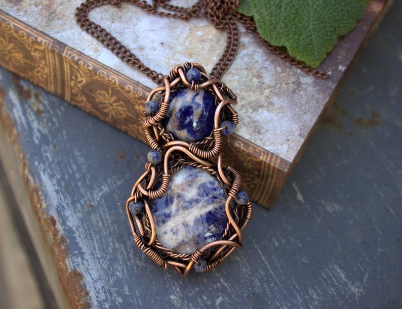 Wire Wrapped Pendant Sodalite Pendant Copper Pendant Etsy