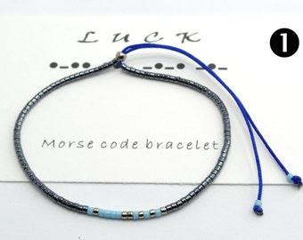 """Morse Code """"Luck"""" Bracelet,Morse Code Bracelet, Beaded Bracelet, Minimalist Bracelet, Friendship Bracelet, Beaded Bracelet, Simple Bracelet"""