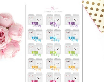 Wash and Dry -  Planner stickers, Icon Stickers, To Do Stickers, Chore Stickers, Laundry Stickers, Functional Stickers, Washer & Dryer