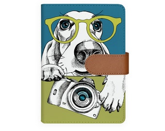 0ccee5d820db6 A6 Planner Binder leather personal organizer organiser refillable planner  notebook agenda cover personalized diary dog glasses