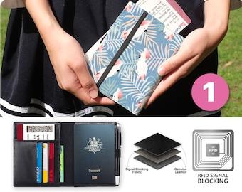 Black Rooster Decor Leather Passport Holder Cover Case Blocking Travel Wallet