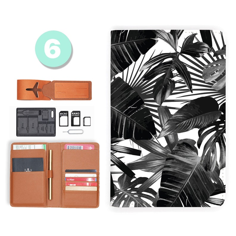 passport cover passport case RFID blocking classic leather travel wallet black flower