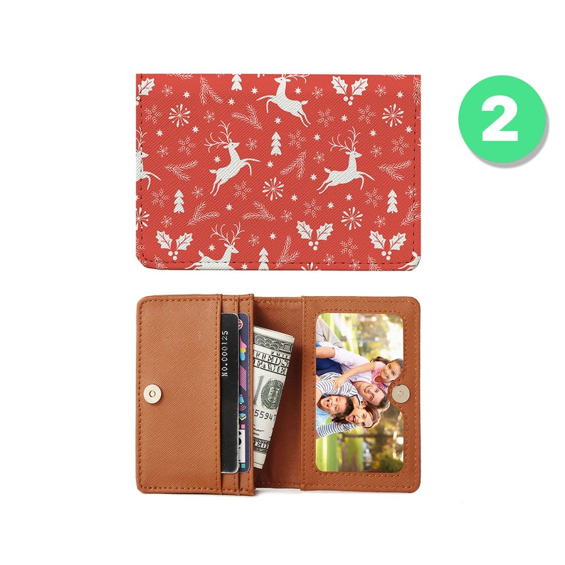 Personalized Minimalist Pu Leather Wallet Slim Credit Card Holder with ID Slot Slim cash change wallet christmas