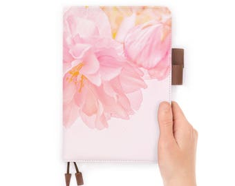 personalized leather journal refillable notebook diary A5 leather cover pink flower