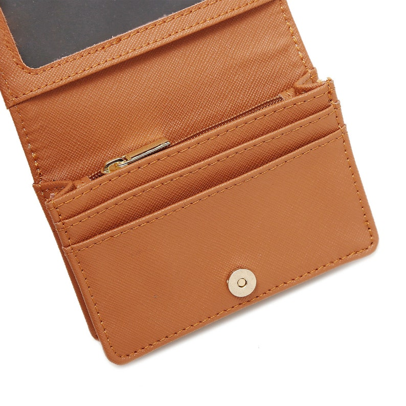 Personalized Minimalist Pu Leather Wallet Slim Credit Card Holder with ID Slot Slim cash change wallet flamingo