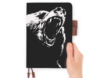 leather notebook personalised refillable diary journal A5 leather cover roar bear