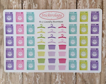 Laundry Reminder Stickers, Washing Machine Stickers, Planner Stickers, Laundry Basket Stickers, Hanger Stickers, A-12.