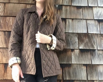 Brooks Brothers Brown Quilted Jacket with Plaid Lining