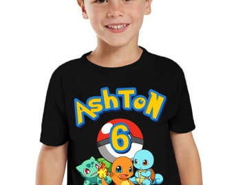 54e4b9b6 Pokemon Birthday Shirt Customized birthday party shirt Add Name & Age Pokemon  TShirt