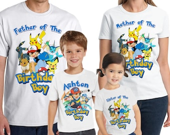d7b41135 Pokemon Birthday Shirt Customized birthday party shirt Add Name & Age  Pokemon Family Shirts LL 07