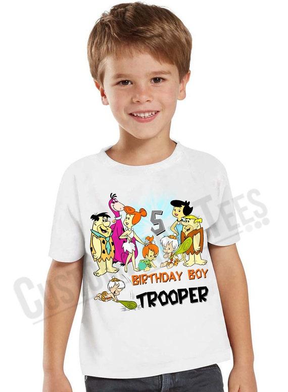 BOYS GIRLS Top Personalised FLINSTONES MOVIE koolart T Shirt BIRTHDAY GIFT