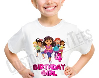 Dora and Friends Birthday Shirt Add Name & AGE Personalized Dora the Explorer Birthday TShirt