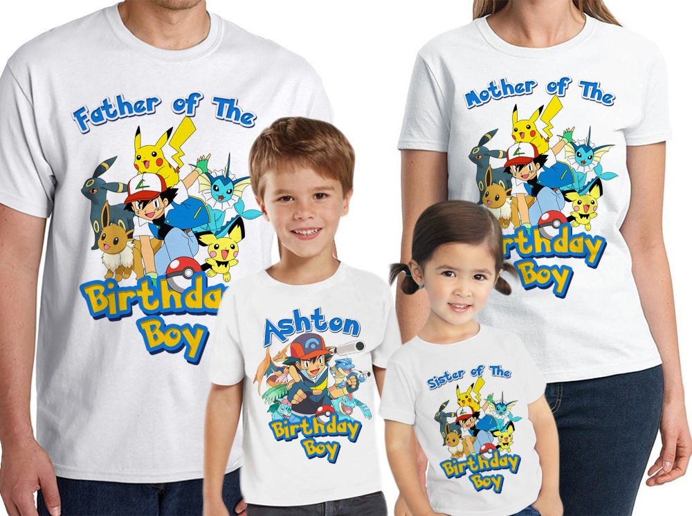 5d031fa8 Pokemon Birthday Shirt Customized birthday party shirt Add | Etsy