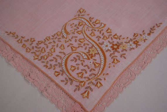 Vintage White on White Linen Handkerchief  10.5 square  drawnwork and appliqu\u00e9