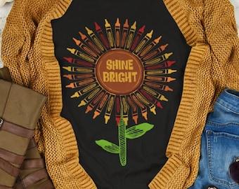 Shine Bright Sunflower Art Teacher Shirt, Crayon Art Teacher Shirt, Fall Apparel, Fall Art Teacher Shirts, Artist T-Shirt, Art Teacher Gift