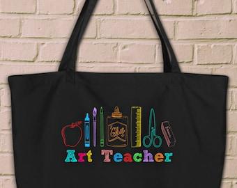 Art Teacher Artist Tools Large Organic Cotton Tote Bag, Shoulder Strap Bag for Artist, Art Teacher, Painter, Art Teacher Appreciation Gift