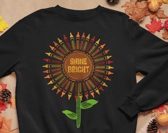 Shine Bright Sunflower Art Teacher Sweatshirt, Crayon Art Teacher Shirt, Plus Size Fall Apparel, Fall Art Teacher Sweatshirts, Teacher Gift