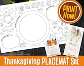 Thanksgiving Printable Placemats Set | Activity Placemat | Digital Download Kids Thanksgiving Activity Page INSTANT DOWNLOAD