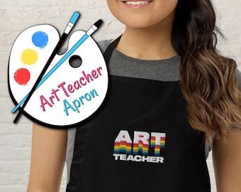 Art Teacher Apron with Pockets, Embroidered Rainbow Colors Apron with Pockets for Art, Painting, Crafts, Art Teacher Apparel, Teacher Gift