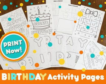 BIRTHDAY Banner Activity Pages, Printable Birthday Coloring Pages for Home school, Birthday Craft for Kids, DIGITAL DOWNLOAD, Print Now