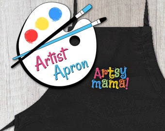 Artsy Mama Art Apron with Pockets, Embroidered Adjustable Artist Apron, Apron with Pockets for Art, Painting, Crafts, Art Teacher Gifts