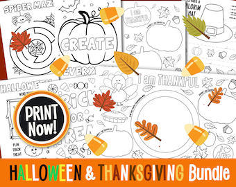HALLOWEEN & THANKSGIVING Activity Bundle and Coloring Pages Digital Download Kids Placemat Activity Page Instant DOWNLOAD