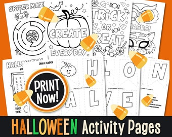 HALLOWEEN Activity and Coloring Pages Digital Download Kids Halloween Activity Page INSTANT DOWNLOAD