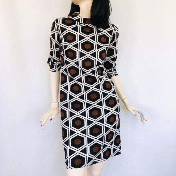 Vintage 1970s Mod Dress Graphic Geometric Mini Dress