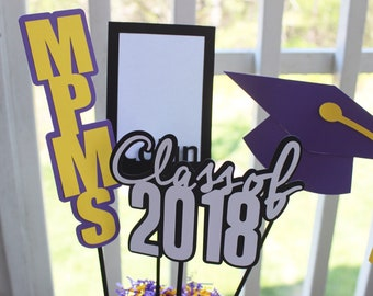 Graduation centerpiece//customized colors, school and name//2018