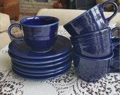 Fiestaware Cup and Saucer Glazed Ceramic Set 8 Piece Homer Laughlin Tea Cup Vintage Cobalt Blue Color Collectors China