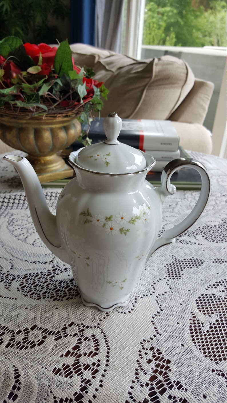 2 Cup CoffeeTeapot Heritage House Bavaria Germany Beautiful White Daisies Green Leaves China Set with Platinum Trim Great Wedding Gift Set