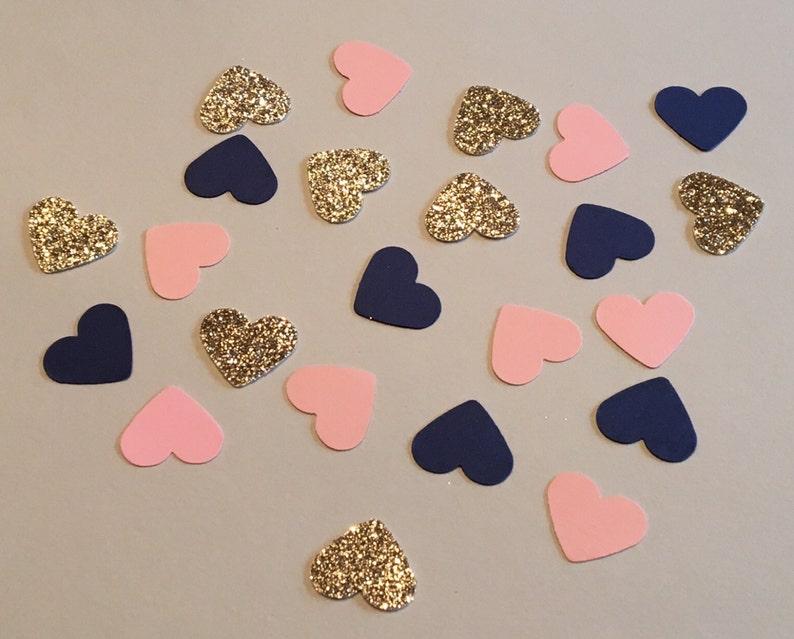 225 Heart Confetti Pink Navy Gold Confetti Glitter Confetti Bridal Shower Confetti Wedding Confetti Anniversary Confetti Pink and Navy