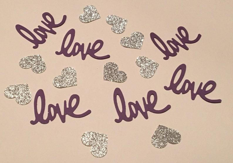 Love and Heart Confetti Purple Silver Confetti Glitter Confetti Shower Confetti Wedding Confetti Anniversary Confetti Purple Silver