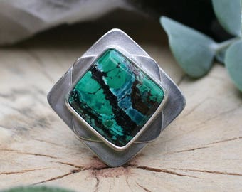 """Malachite Azurite ring size 7.5, sterling silver """"Blue Lagoon"""" statement ring, azurite malachite ring, blue stone ring, square ring"""