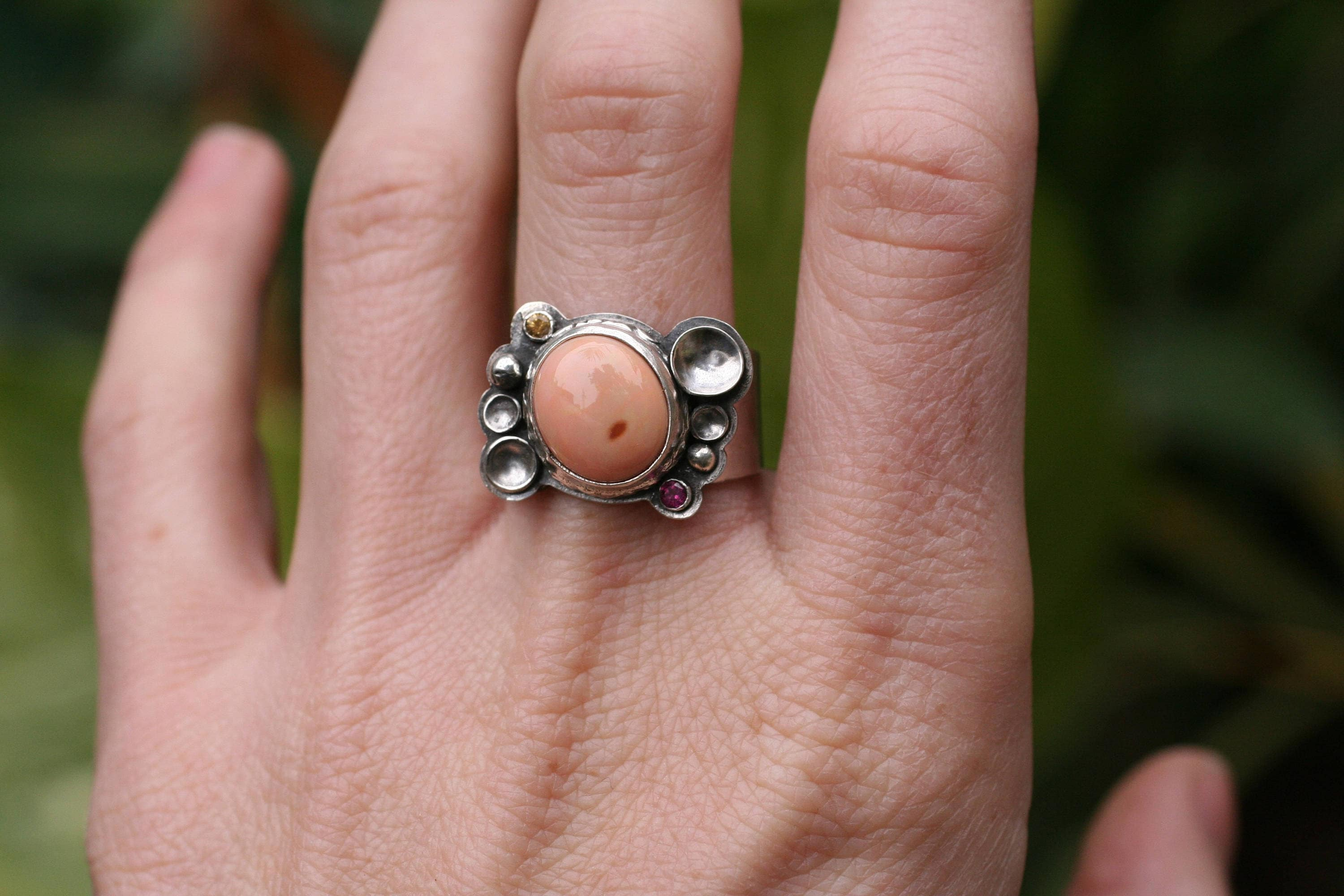Mexican opal ring with yellow garnet and pink tourmaline. Size