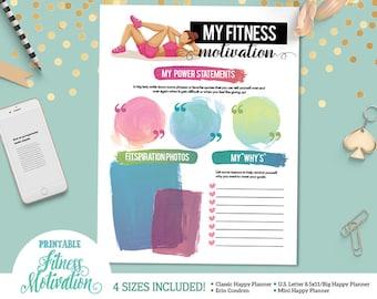 Printable Fitness Motivation and Inspiration Sheet  | For U.S. Letter Binders | Happy Planner | Erin Condren |  | Instant Download