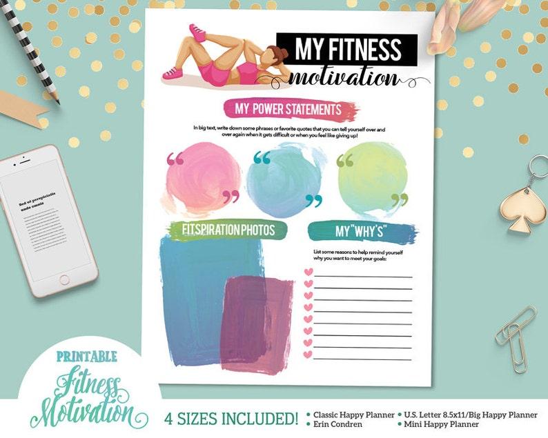 Printable Fitness Motivation and Inspiration Sheet   For U S  Letter  Binders   Happy Planner   Erin Condren     Instant Download
