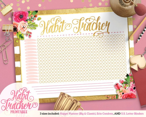 graphic about Printable Gold Foil titled Printable Gold Foil Bouquets Routine Tracker For Satisfied Planner Erin Condren U.S. Letter Binders Quick Obtain