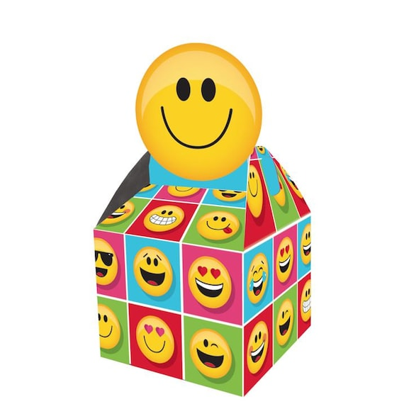 Emoji Party Favors Favor Boxes Instagram Birthday Facebook Emoticon Treat Box Smiley Faces