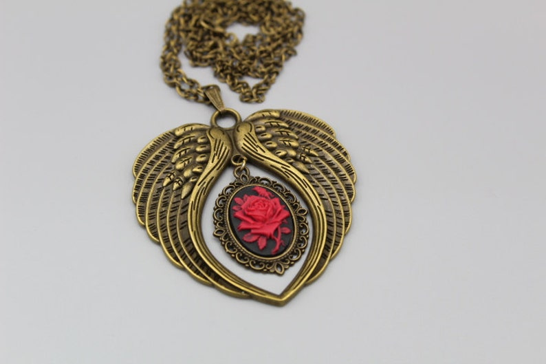 45c525a38d5a Alas de Ángel de guarda doble grande latón antiguo collar