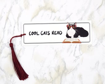 """Cute Bookmark, """"Cool Cats Read"""", Bookmark for Kids, Book Lover Gift, Reading Accessories"""
