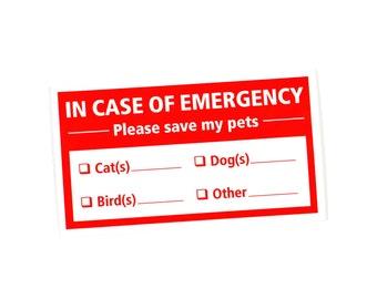 Pet Emergency Sticker, In Case of Emergency Decal, Pet Window Sticker