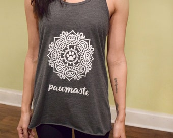 "PRE-ORDER Yoga Shirt Namaste, ""Pawmaste"", Yoga Tank Top, Leisure Wear, Animal Lover Gift"