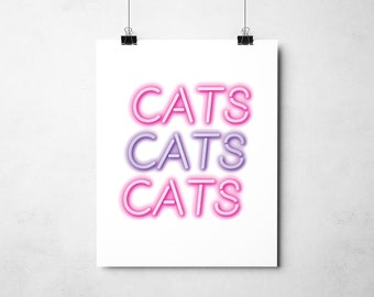 """Funny Cat Print, """"CATS CATS CATS"""", Cat Lover Gift, Cat Wall Art, Cat Lady Gift, Cat Dad Gift"""