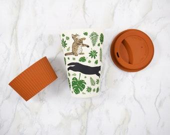 Cute Cat Mug, Eco Friendly Gift, Cats and Plants, Bamboo Fibre Mug, Coffee Mug